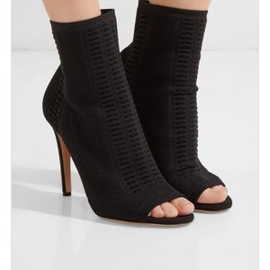 Gianvito Rossi Knit Fabric Peep Toe Bootie - EUC